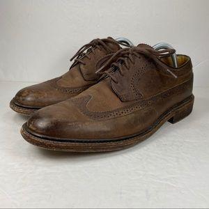 John A. Frye Brown Leather Wingtip Oxford Shoe